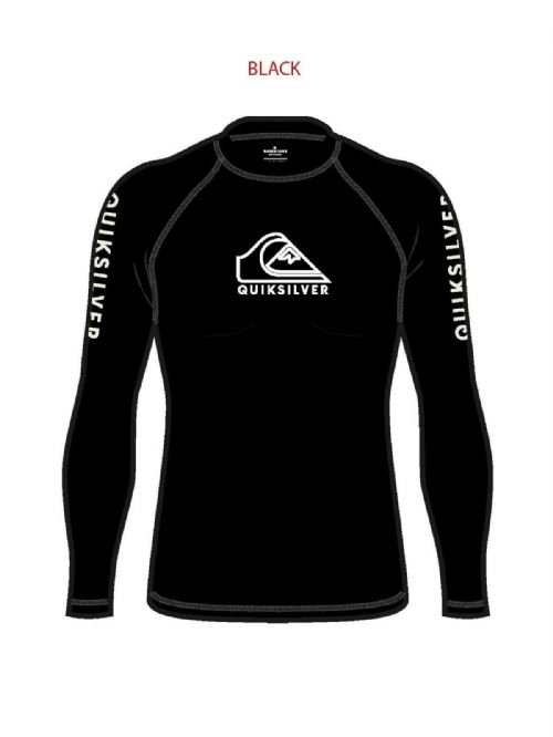 QUIKSILVER MENS RASH VEST.ON TOUR UPF50+ BLACK LONG SLEEVED SURF GUARD TOP S20 2